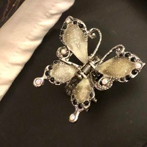 Embellished Crystal Butterfly Hair Clip. Barrette.